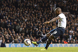 Tottenham's Jermain Defoe scores a goal from a penalty - Photo mandatory by-line: Mitchell Gunn/JMP - Tel: Mobile: 07966 386802 30/10/2013 - SPORT - FOOTBALL - White Hart Lane - London - Tottenham Hotspur v Hull City - Capital One Cup - Forth Round