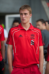 ZUG, SWITZERLAND - Wednesday, July 21, 2010: Liverpool's Stephen Darby before the Reds' first preseason match of the 2010/2011 season against Grasshopper Club Zurich at the Herti Stadium. (Pic by David Rawcliffe/Propaganda)