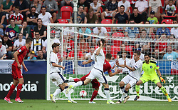 Czech Republic's Marek Havlik (centre right) scores his side's second goal of the game