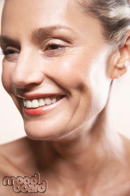 Beauty portrait of mature woman smiling