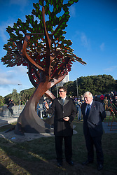 Britain's Foreign Secretary Boris Johnson stand s with Sir Richard Taylor of Weta Workshops after unveiling a new UK memorial at Pukeahu War Memorial Park during a two day visit to Wellington, New Zealand on July 24, 2017. Credit:SNPA / Marty Melville  AFP POOL