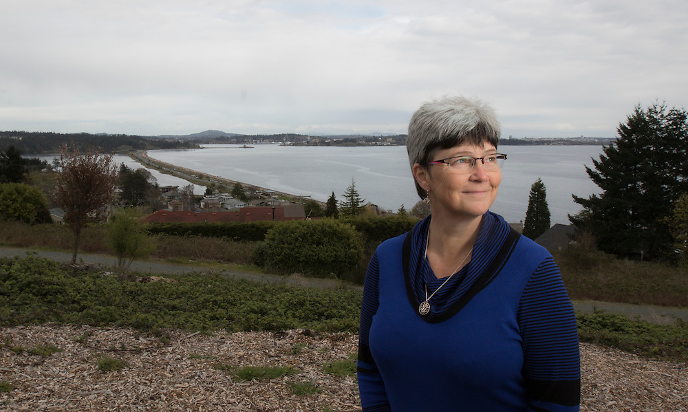 Arnold Lim/News staff<br /> Colwood mayor Carol Hamilton with he Esquimalt Lagoon behind her, for sewage story Colwood, B.C. March 8, 2016.