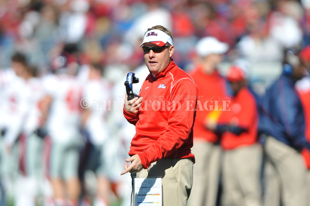 Ole Miss Coach Hugh Freeze vs. Arkansas at War Memorial Stadium in Little Rock, Ark. on Saturday, October 27, 2012. Ole Miss won 30-27...