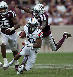 Auburn wide receiver Ryan Davis (23) dodges a tackle attempt by Texas A&M defensive back Debione Renfro (29) after a catch during the fourth quarter of an NCAA college football game on Saturday, Nov. 4, 2017, in College Station, Texas. (AP Photo/Sam Craft)