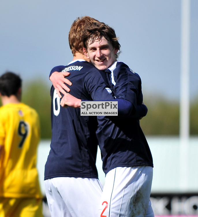 Blair Alston (Falkirk, blue, right) scores the third goal for the home side..Falkirk v Ayr, SFL 1st Division, Saturday 5th May 2012..ALEX TODD | STOCKPIX.EU