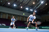 (L) Marcin Matkowski & (R) Mariusz Fyrstenberg both from Poland while training session three days before the BNP Paribas Davis Cup 2014 between Poland and Croatia at Torwar Hall in Warsaw on April 1, 2014.<br /> <br /> Poland, Warsaw, April 1, 2014<br /> <br /> Picture also available in RAW (NEF) or TIFF format on special request.<br /> <br /> For editorial use only. Any commercial or promotional use requires permission.<br /> <br /> Mandatory credit:<br /> Photo by © Adam Nurkiewicz / Mediasport