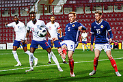 David Bates Scotland U21s (Hamburg SV) clears the ball in front of the Scotland goal during the U21 UEFA EUROPEAN CHAMPIONSHIPS match Scotland vs England at Tynecastle Stadium, Edinburgh, Scotland, Tuesday 16 October 2018.