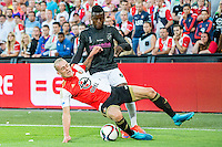 ROTTERDAM - Feyenoord - FC Utrecht , Voetbal , Seizoen 2015/2016 , Eredivisie , Stadion de Kuip , 08-08-2015 , Speler van Feyenoord Rick Karsdorp (l) in duel met FC Utrecht speler Louis Nganioni (r)