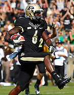 WEST LAFAYETTE, IN - SEPTEMBER 29: Gary Bush #6 of the Purdue Boilermakers crosses the goal line for a touchdown against the Marshall Thundering Herd at Ross-Ade Stadium on September 29, 2012 in West Lafayette, Indiana. (Photo by Michael Hickey/Getty Images) *** Local Caption *** Gary Bush
