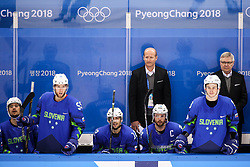 GANGNEUNG, SOUTH KOREA - FEBRUARY 17: Nik Zupancic and Kari Savolainen, head coach of Slovenia during the ice hockey match between Slovenia and Slovakia in  the Preliminary Round on day eight of the PyeongChang 2018 Winter Olympic Games at Kwangdong Hockey Centre on February 17, 2018 in Gangneung, South Korea. Photo by Kim Jong-man / Sportida