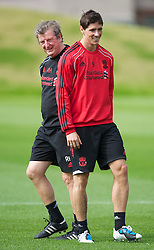 LIVERPOOL, ENGLAND - Wednesday, August 18, 2010: Liverpool's manager Roy Hodgson and Fernando Torres during a training session at Melwood ahead of the UEFA Europa League Play-Off 1st Leg match against Trabzonspor A.S. (Pic by: David Rawcliffe/Propaganda)
