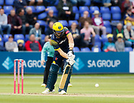 Glamorgan's Craig Meschede blocks<br /> <br /> Photographer Simon King/Replay Images<br /> <br /> Vitality Blast T20 - Round 14 - Glamorgan v Surrey - Friday 17th August 2018 - Sophia Gardens - Cardiff<br /> <br /> World Copyright &copy; Replay Images . All rights reserved. info@replayimages.co.uk - http://replayimages.co.uk
