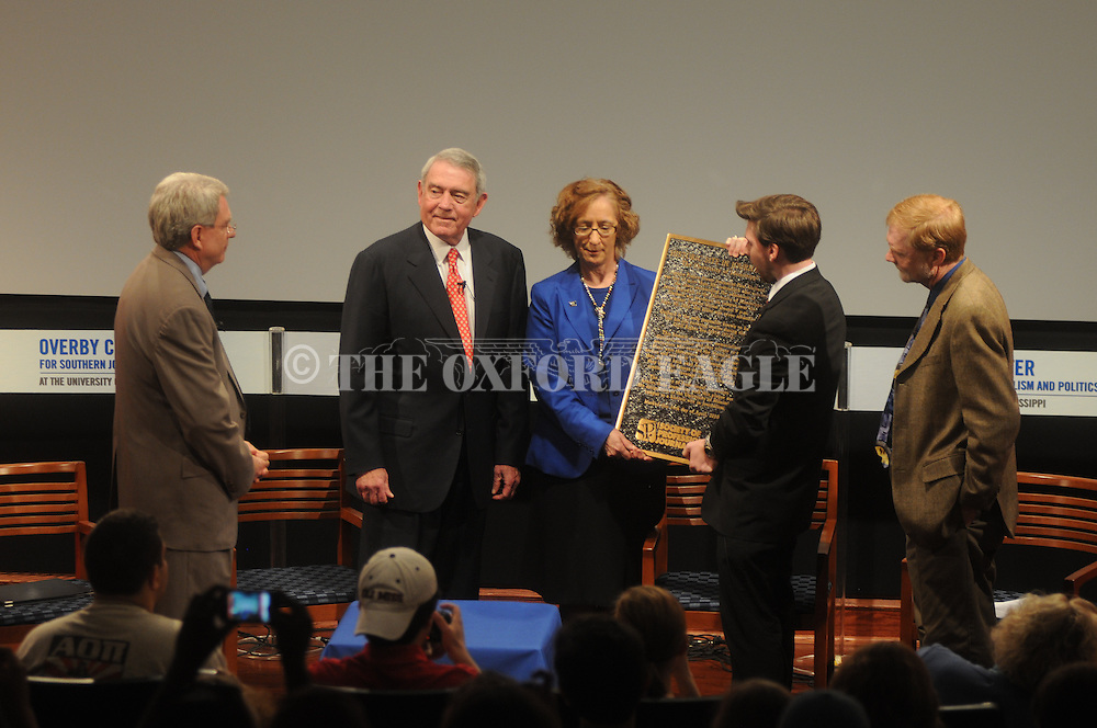 The University of Mississippi is the 100th person or place to be designated a Society of Professional Journalists historical site. Former CBS news anchor Dan Rather (from l.); Ole Miss professor Dr. Kathleen Wickham; Andrew Scott, president of the University of Mississippi SPJ chapter; and Jerry Mitchell, Jackson Clarion-Ledger reporter: hold the plaque on Wednesday, April 13, 2010.