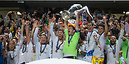 Portugal, Lisbon : Real Madrid's goalkeeper Iker Casillas (L) and teammates celebrate their victory at the end of the UEFA Champions League Final Real Madrid vs Atletico de Madrid at Luz stadium in Lisbon, on May 24, 2014. Real Madrid won 4-1. <br /> PHOTO:GREG&Oacute;RIO CUNHA