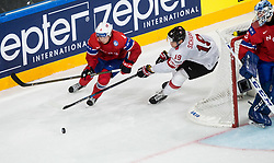 Johannes Johannesen of Norway vs Reto Schappi of Switzerland during the 2017 IIHF Men's World Championship group B Ice hockey match between National Teams of Norway and Switzerland, on May 7, 2017 in Accorhotels Arena in Paris, France. Photo by Vid Ponikvar / Sportida