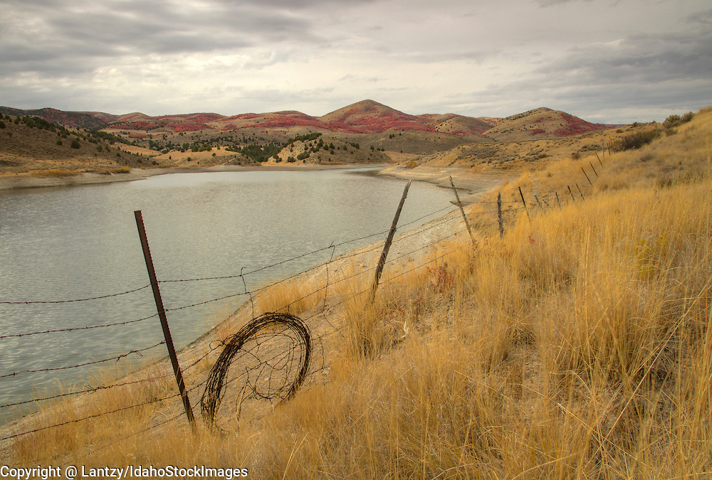 Idaho, Southeastern, Oneida County, Bannock Range, Malad City. Weston Creek Reservoir in autumn.