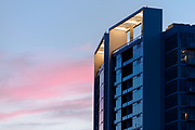 Detail of condominium tower in Midtown Atlanta at sunset