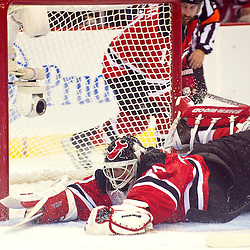 June 9, 2012: New Jersey Devils goalie Martin Brodeur (30) dives to freeze the puck during second period action in game 5 of the NHL Stanley Cup Final between the New Jersey Devils and the Los Angeles Kings at the Prudential Center in Newark, N.J.