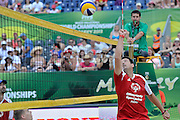 Wladimir Grbic of Serbia (R) attacks while exhibition match of Special Olympics Poland during Day 7 of the FIVB World Championships on July 7, 2013 in Stare Jablonki, Poland. <br /> <br /> Poland, Stare Jablonki, July 07, 2013<br /> <br /> Picture also available in RAW (NEF) or TIFF format on special request.<br /> <br /> For editorial use only. Any commercial or promotional use requires permission.<br /> <br /> Mandatory credit:<br /> Photo by &copy; Adam Nurkiewicz / Mediasport