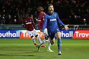 AFC Wimbledon midfielder Scott Wagstaff (7) <br /> celebrating after scoring goal to make it 2-0 during the The FA Cup match between AFC Wimbledon and West Ham United at the Cherry Red Records Stadium, Kingston, England on 26 January 2019.