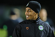 Forest Green Rovers Tahvon Campbell(14) warming up during the EFL Sky Bet League 2 match between Forest Green Rovers and Mansfield Town at the New Lawn, Forest Green, United Kingdom on 29 January 2019.