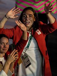 05-08-2016 BRA: Olympic Games day -1, Rio de Janeiro<br /> Openingsceremonie van de Olympische Spelen in Rio / dans, vuurwerk, muziek, show en een boodschap aan de wereld / Nederlandse atleten komen het   stadion binnen tijdens de openingsceremonie van de Olympische Spelen van Rio.