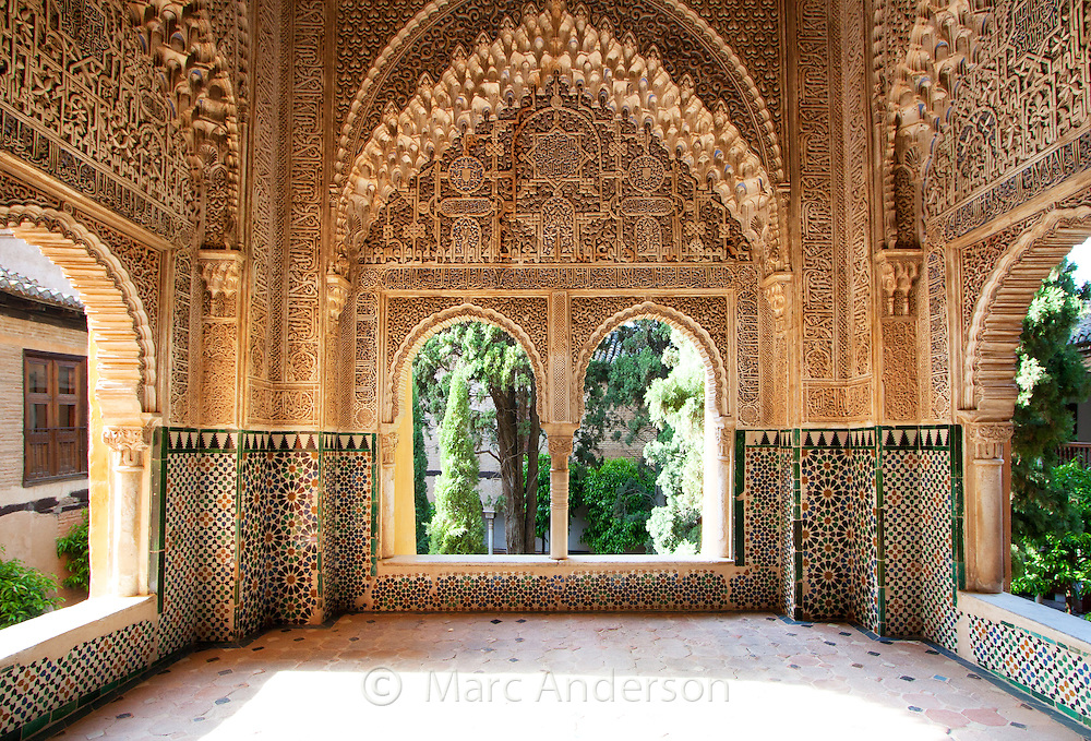 Architectural details in the Alhambra Palace, Granada, Spain