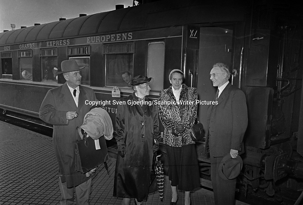 Thomas Mann, German author, &amp; his wife, at Central Station in Copenhagen <br /> Picture by Sven Gjoerling/Scanpix/Writer Pictures<br /> <br /> WORLD RIGHTS - DIRECT SALES ONLY - NO AGENCY