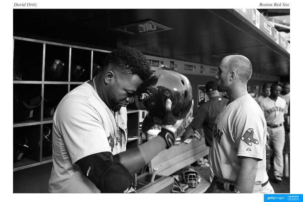 David Ortiz, Boston Red Sox, in the dugout preparing to bat during the New York Mets Vs Boston Red Sox MLB regular season baseball game at Citi Field, Queens, New York. USA. 29th August 2015. Photo Tim Clayton