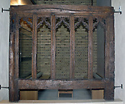 Window Frame 1475-1500.  Oak, Suffolk, England.  This window is carved with elaborate Gothic tracery.  It would never have been flazed and instead the weather was kept out with shutters, possibly both inside and out.  Few windows of this date remain in their original location or condition.