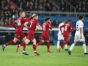 James Milner of Liverpool celebrates his goal  during the Champions League group stage match between Paris Saint-Germain and Liverpool at Parc des Princes, Paris, France on 28 November 2018.