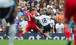 LONDON, ENGLAND - Sunday, September 18, 2011: Tottenham Hotspur's Jermain Defoe scores the second goal against Liverpool during the Premiership match at White Hart Lane. (Pic by David Rawcliffe/Propaganda)