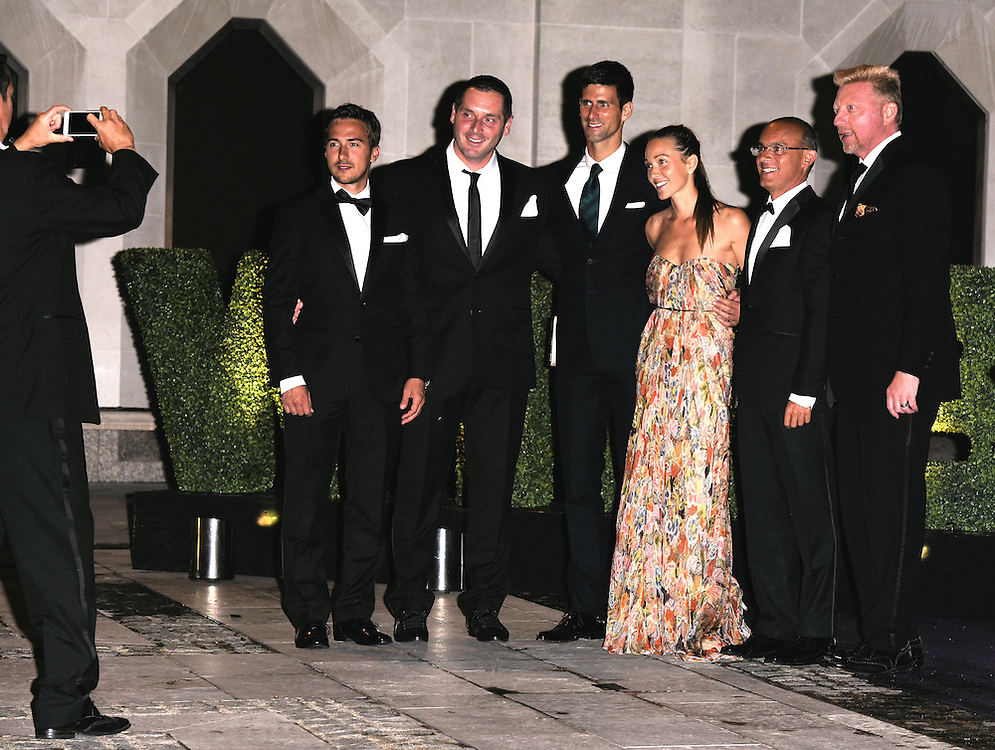 Novak Djokovic, Jelena Djokovic, Boris Becker and guests  attend the 2015  Wimbledon Champions Dinner at The Guildhall, Gresham Street, London on Sunday 12 July 2015