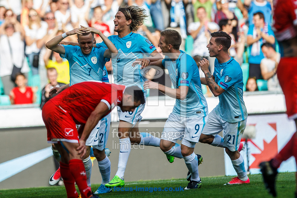 Slovenia celebrates Josip Ilicic's goal during the 2018 FIFA World Cup Qualifying match at SRC Stozice, Ljubljana<br /> Picture by EXPA Pictures/Focus Images Ltd 07814482222<br /> 10/06/2017<br /> *** UK &amp; IRELAND ONLY ***<br /> <br /> EXPA-SLO-170610-0014.jpg