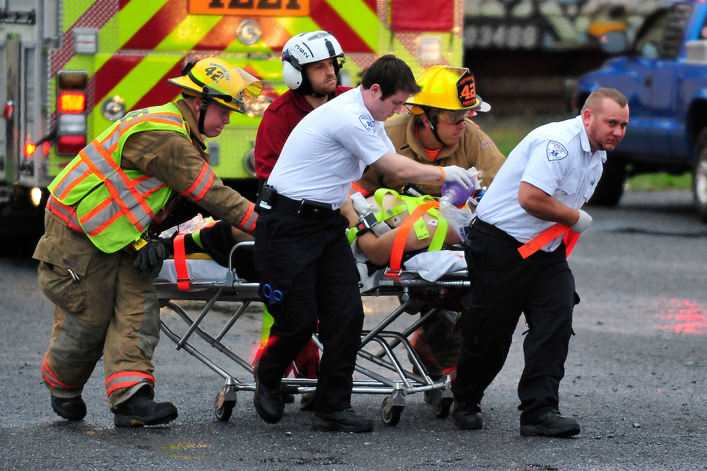 10/11/2013 Northampton, PA Emergency units were called to the area of 19th and Franklin Streets in Northampton Friday morning for a person who was struck by a train. A medical helicopter was called to transport the patient to the hospital. Express-Times Photo | CHRIS POST