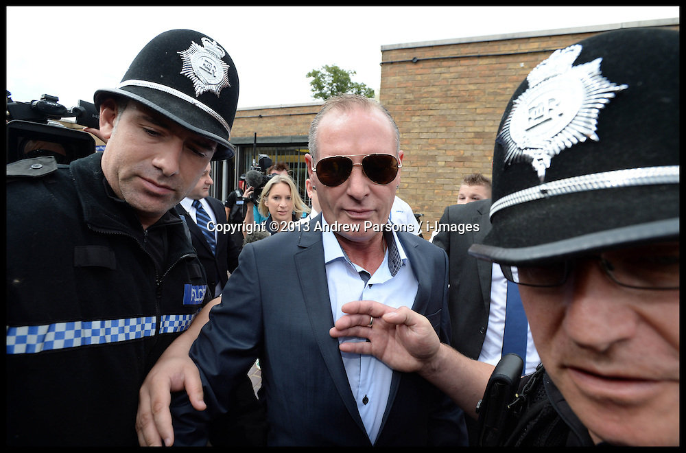 Former England footballer Paul Gascoigne leaving  Stevenage Magistrates Court in Hertfordshire, Monday, 5th August 2013, after being charged of assault and  drunk and disorderly at Stevenage Train station on July 4th 2013.<br /> Picture by Andrew Parsons / i-Images