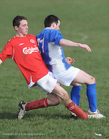 Alan Nicholson Medtronics gets fouled  by Shane Lydon Mannion's  in Westpark in Galway Photo:Andrew Downes