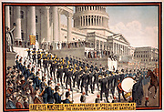 Haverley's Minstrels as they appeared by special invitation at the inauguration of President Garfield.  The band ascending the steps of the Capitol building, Washington, 1891.    Chromolithograph.