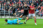 Kalvin Phillips (23) of Leeds United is denied by Frank Fielding (1) of Bristol City during the EFL Sky Bet Championship match between Bristol City and Leeds United at Ashton Gate, Bristol, England on 21 October 2017. Photo by Graham Hunt.
