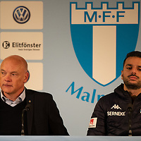 2019-10-06 | Malmö, Sweden: Malmö FF coach Uwe Rösler and IFK Göteborg coach Poya Asbaghi during the press conference after the game between Malmö FF and IFK Göteborg at Malmö Stadion ( Photo by: Roger Linde | Swe Press Photo )<br /> <br /> Keywords: Malmö Stadion, Malmö, Soccer, Allsvenskan, Malmö FF, IFK Göteborg, mg191006