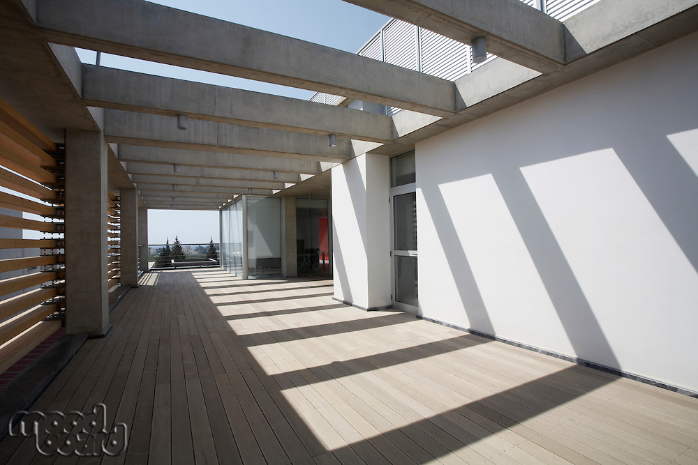 Deck of modern apartment building