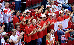 Polish supporters during volleyball match between National teams of Poland and Slovenia in Quarterfinals of 2015 CEV Volleyball European Championship - Men, on October 14, 2015 in Arena Armeec, Sofia, Bulgaria. Photo by Ronald Hoogendoorn / Sportida