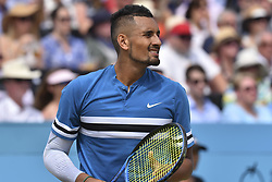 June 23, 2018 - London, England, United Kingdom - Nick Kyrgios of Australia is pictured during the semi final singles match on day six of Fever Tree Championships at Queen's Club, London on June 23, 2018. (Credit Image: © Alberto Pezzali/NurPhoto via ZUMA Press)