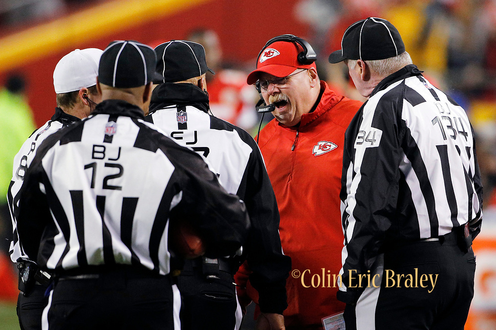 Kansas City Chiefs head coach Andy Reid reacts to a call by officials during the third quarter of an NFL football game against the Oakland Raiders in Kansas City, Mo., Sunday, Dec. 30, 2018.   (AP Photo/Colin E. Braley)