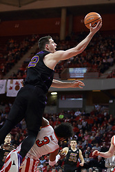 17 February 2018:  Keyshawn Evans gets called for blocking on a drive by Klint Carlson during a College mens basketball game between the University of Northern Iowa Panthers and Illinois State Redbirds in Redbird Arena, Normal IL