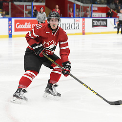 WHITBY, - Dec 13, 2015 -  WJAC Game 2- Team Switzerland vs Team Canada East at the 2015 World Junior A Challenge at the Iroquois Park Recreation Complex, ON. Tyler Rollo #18 of Team Canada East follows the play during the first period.<br /> (Photo: Andy Corneau / OJHL Images)