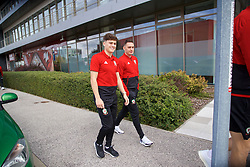 BRATISLAVA, SLOVAKIA - Thursday, October 10, 2019: Wales' Daniel James (L) and Connor Roberts during a pre-match team walk near the Hotel NH Bratislava Gate One ahead of the UEFA Euro 2020 Qualifying Group E match between Slovakia and Wales. (Pic by David Rawcliffe/Propaganda)