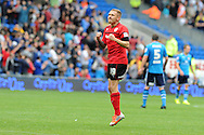 Cardiff city's Craig Bellamy celebrates after he scores the opening goal. NPower championship, Cardiff city v Leeds United at the Cardiff city stadium in Cardiff, South Wales on Sat 15th Sept 2012.   pic by  Andrew Orchard, Andrew Orchard sports photography,