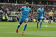 Wolverhampton Wanderers striker Benik Afobe celebrates goal during the Sky Bet Championship match between Derby County and Wolverhampton Wanderers at the iPro Stadium, Derby, England on 18 October 2015. Photo by Alan Franklin.