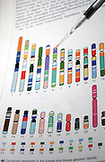 DNA research with graphics charts reference in the background